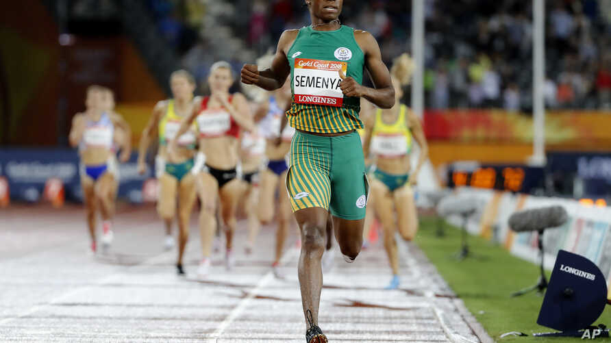 South Africa's Caster Semenya crosses the finish line to win the women's 1500m final at Carrara Stadium during the 2018 Commonwealth Games on the Gold Coast, Australia,  April 10, 2018.