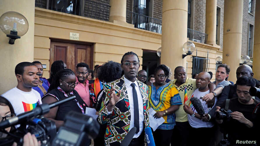 An LGBT activist delivers a statement after a ruling by Kenya's high court to uphold a law banning gay sex, at the Milimani high Court in Nairobi, Kenya, May 24, 2019.
