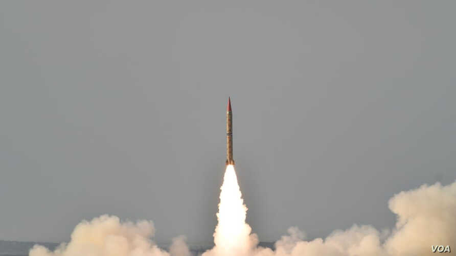 Shaheen II, surface-to-surface ballistic missile, according to Pakistan capable of delivering conventional and nuclear weapons at a range of up to 1,500 kilometers, during a training launch in this handout photo released by Inter Services Public Rela...