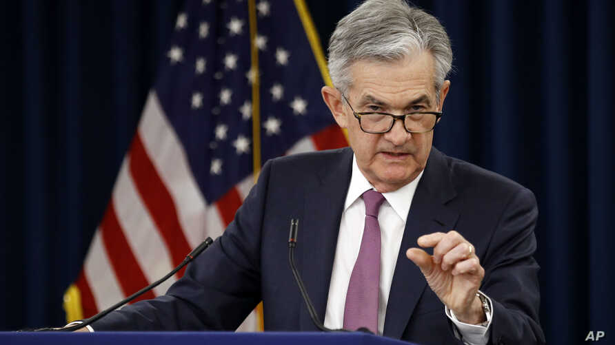 FILE - Federal Reserve Board Chair Jerome Powell speaks at a news conference following a two-day meeting of the Federal Open Market Committee,  May 1, 2019, in Washington.