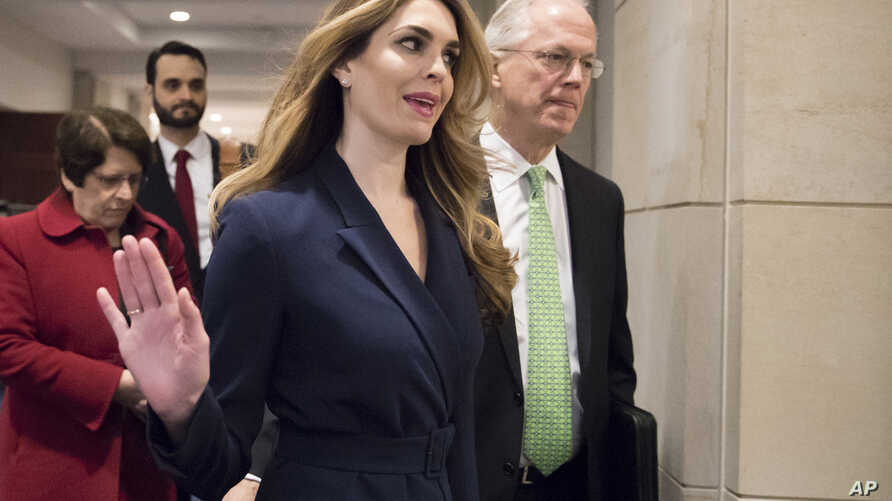 White House Communications Director Hope Hicks, one of President Trump's closest aides and advisers, arrives to meet behind closed doors with members of the House Intelligence Committee, at the Capitol, in Washington, Feb. 27, 2018.