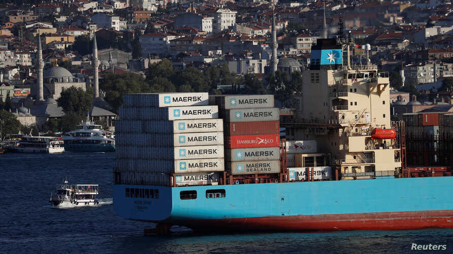 The Maersk Line container ship Maersk Batam sails in the Bosphorus, on its way to the Mediterranean Sea, in Istanbul, Aug. 10, 2018.
