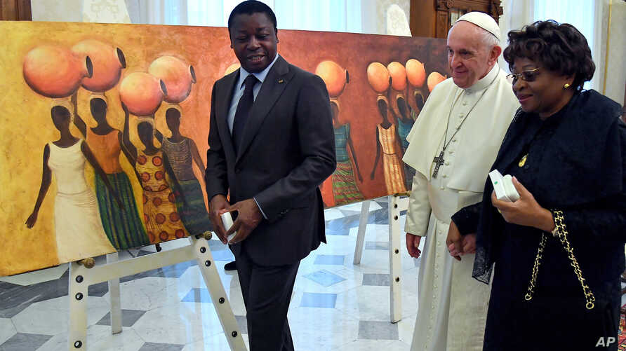 FILE - Togo's President Essozimna Gnassingbe is seen during a visit to the Vatican on April 29, 2019.