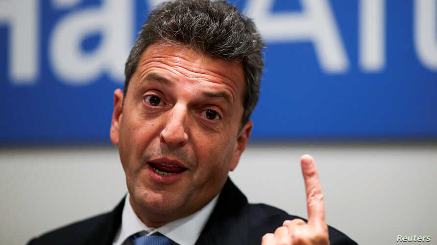 Argentine politician and potential 2019 presidential candidate, Sergio Massa, gestures during a news conference with members of the foreign media at his offices in Buenos Aires, Argentina, April 16, 2019.
