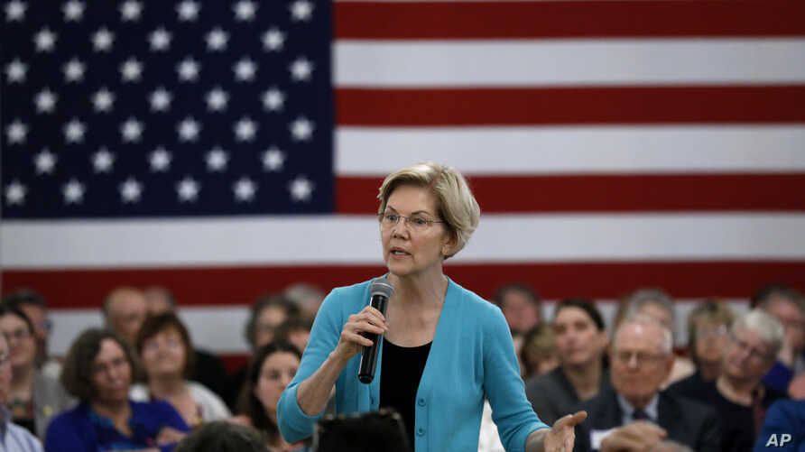 Democratic presidential candidate Sen. Elizabeth Warren speaks to local residents during a meet and greet, May 26, 2019, in Ottumwa, Iowa.