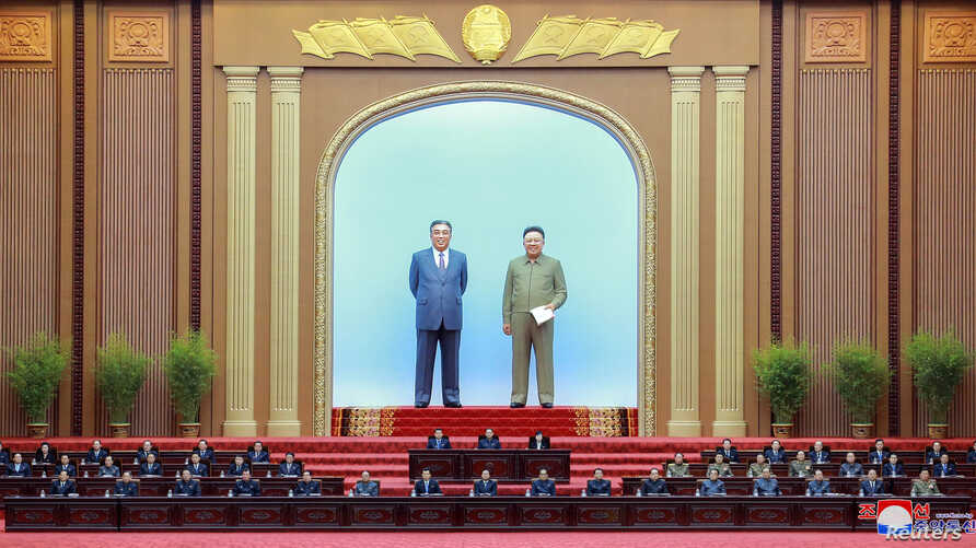 Officials attend the 14th Supreme People's Assembly of the Democratic People's Republic of Korea held at Mansudae Assembly Hall in Pyongyang, April 11, 2019.