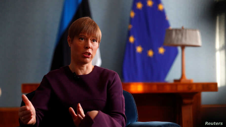 Estonian President Kersti Kaljulaid speaks during an interview in Tallinn, Estonia, Jan. 22, 2019.