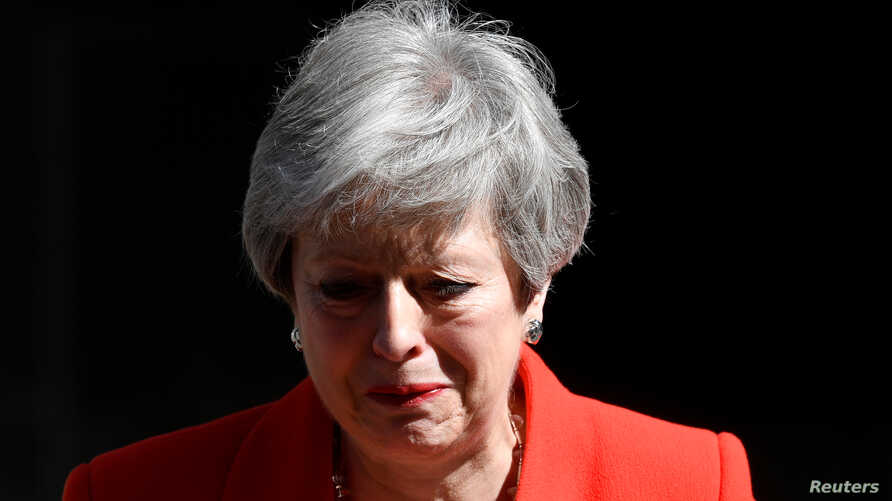 British Prime Minister Theresa May reacts as she announces her resignation in London, May 24, 2019.