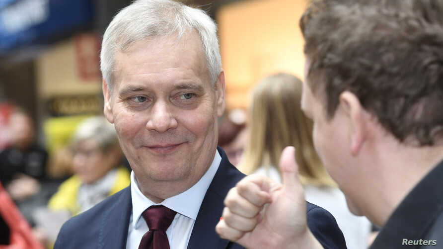 Social Democratic Party Chairman Antti Rinne campaigns for the Finnish parliamentary elections in Espoo, Finland, April 13, 2019.