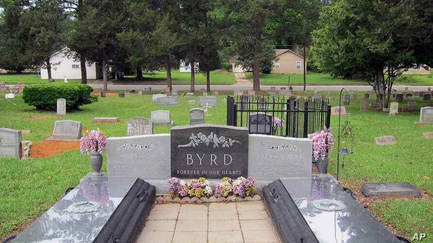 This April 12, 2019, photo shows the gravesite of James Byrd Jr. in Jasper, Texas. Byrd was killed on June 7, 1998, in what is considered one of the most gruesome hate crime murders in recent Texas history.