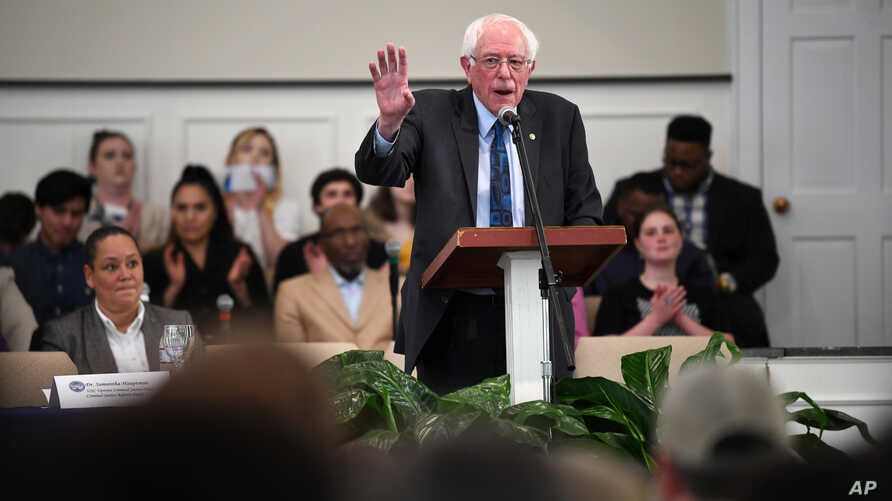 Sen. Bernie Sanders speaks during a town hall with black lawmakers, April 18, 2019, in Spartanburg, S.C. Ahead of the event, Sanders announced 2020 campaign endorsements from seven black South Carolina lawmakers, a show of force in state where black ...
