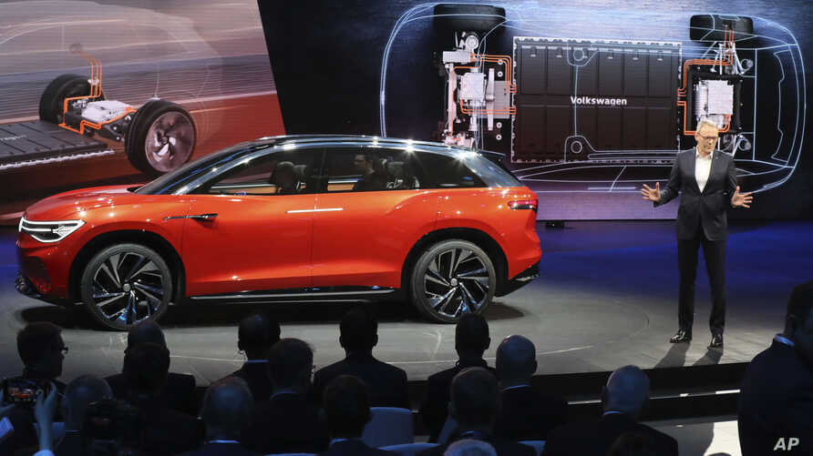 Volkswagen unveils a concept electric SUV, the whimsically named ID. ROOMZZ during the Auto Shanghai 2019 show in Shanghai on Tuesday, April 16, 2019.