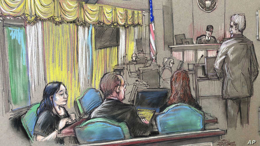 FILE - An April 15, 2019 court sketch shows Yujing Zhang (L), a Chinese woman charged with lying to illegally enter President Donald Trump's Mar-a-Lago club, listening to a hearing  in West Palm Beach, Fla.