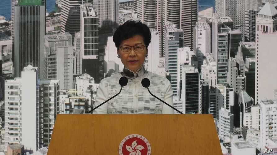 Hong Kong's Chief Executive Carrie Lam attends a press conference, Saturday, June 15, 2019, in Hong Kong.