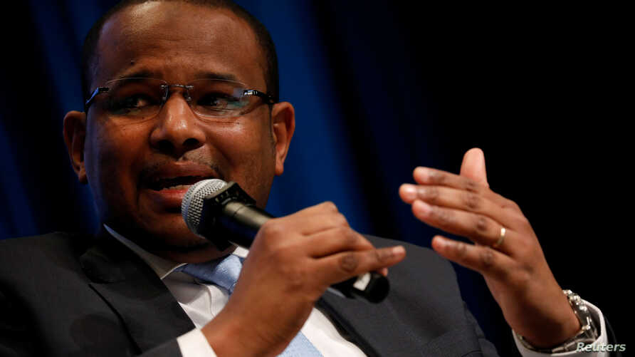 FILE - Malian Minister of Economy and Finance Boubou Cisse speaks at panel on the security-development nexus during IMF spring meetings in Washington, U.S., April 20, 2018