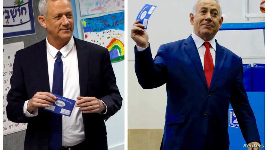 A combination picture shows Benny Gantz, left, leader of Blue and White party voting at a polling station in Rosh Ha'ayin and Israel's Prime Minister Benjamin Netanyahu voting at a polling station in Jerusalem during Israel's parliamentary election...