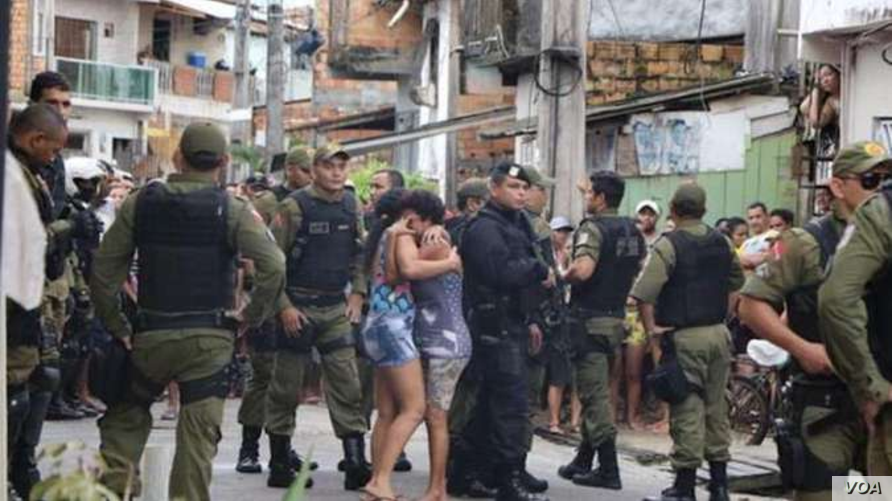 A social media image purports to show police activity following a bar shooting in Belem, Brazil. (Twitter/ferozwala)