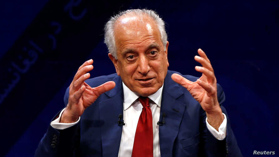 US envoy for peace in Afghanistan Zalmay Khalilzad speaks during a debate at Tolo TV channel in Kabul, Afghanistan, April 28, 2019.
