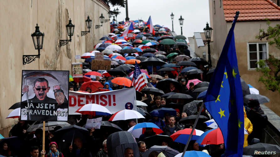 Demonstrators march during a protest rally demanding the resignation of Czech Prime Minister Andrej Babis in Prague, Czech Republic, April 29, 2019.