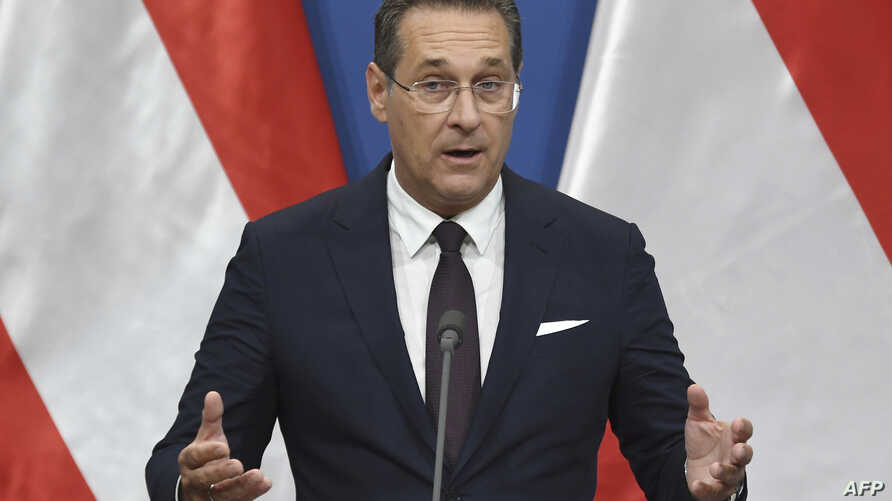In this file photo taken on May 6, 2019, Austria's Vice-Chancellor and chairman of the Freedom Party FPOe Heinz-Christian Strache gives a press conference.