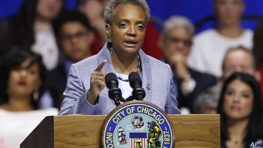 Mayor of Chicago Lori Lightfoot speaks during her inauguration ceremony in Chicago, May 20, 2019.