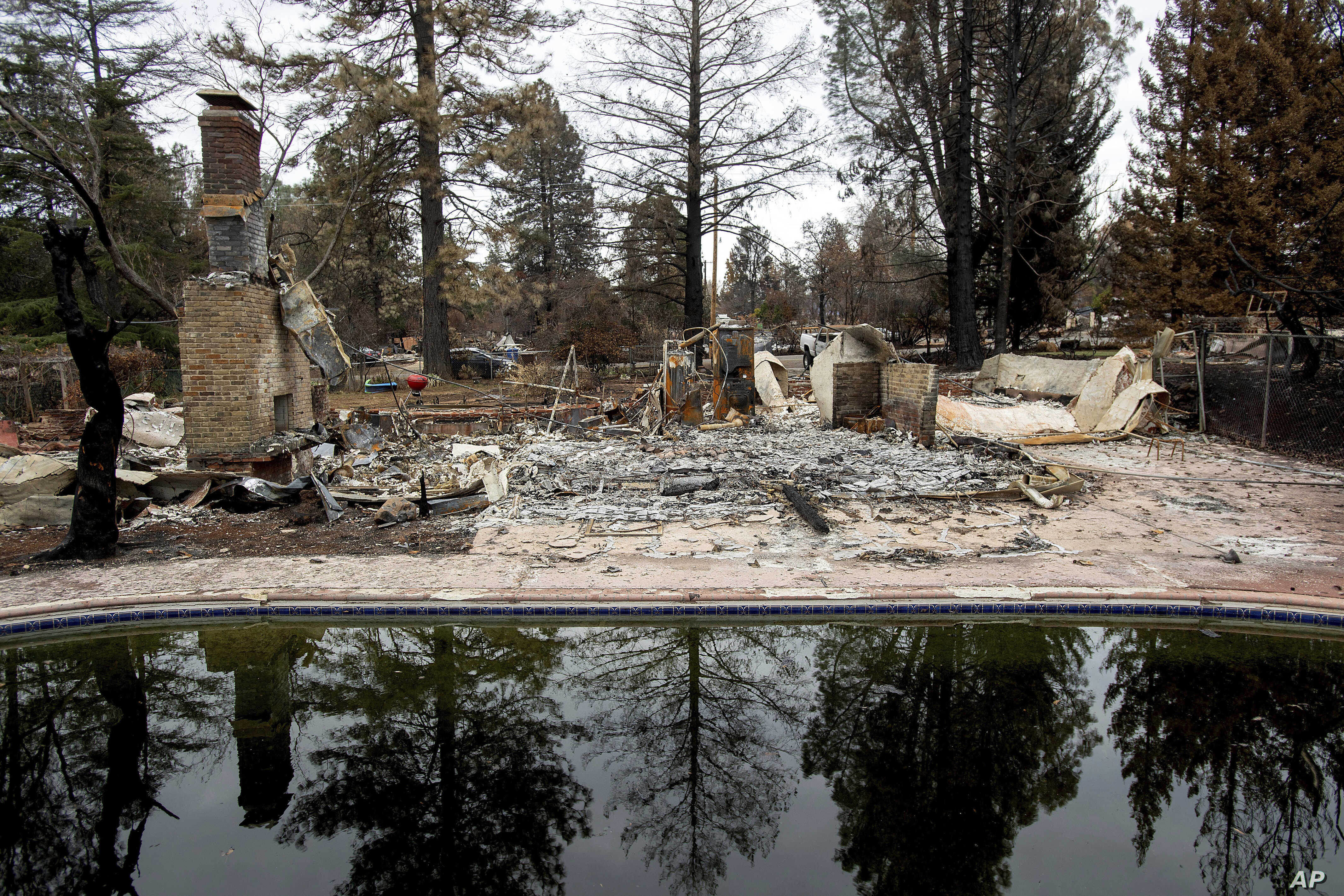 FILE - In this Dec. 3, 2018, file photo, trees reflect in a swimming pool outside Erica Hail's Paradise, Calif., home, which burned during the Camp Fire.