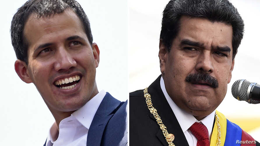 This combination of pictures created May 25, 2019, shows Venezuelan opposition leader Juan Guaido, left, in Caracas, Feb. 2, 2019, and Venezuelan President Nicolas Maduro, right, at the Fuerte Tiuna Military Complex in Caracas, Jan. 10, 2019.