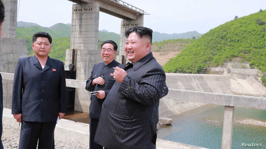 North Korean leader Kim Jong Un visits Kumyagang Power Station No. 2 in North Korea in this May 4, 2019, photo supplied by the Korean Central News Agency.