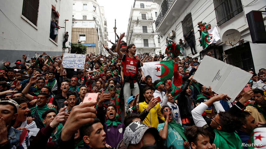 Demonstrators return to the streets to press demands for wholesale democratic change well beyond former President Abdelaziz Bouteflika's resignation, in Algiers, Algeria, April 19, 2019.