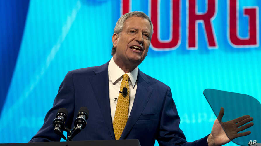 FILE - New York City Mayor Bill de Blasio speaks at an event in Washington, March 25, 2019.