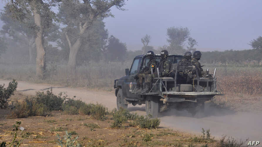 FILE - Members of the Cameroonian Rapid Intervention Battalion patrol on the outskirts of Mosogo in the far north region of the country, March 21, 2019.