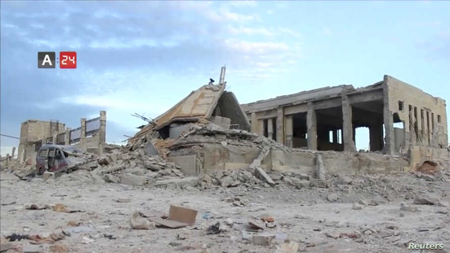 The destroyed building of Nabd Al-Hayat hospital that was hit by an air strike is seen in Hass, Idlib province, Syria, May 6, 2019 in this still image taken from a video on May 9, 2019.