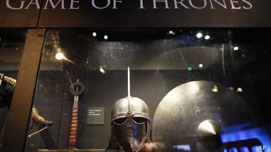 FILE - Weapons from the Game of Thrones are on display at the Waterfront Hall, Belfast, Northern Ireland on June 10, 2014.