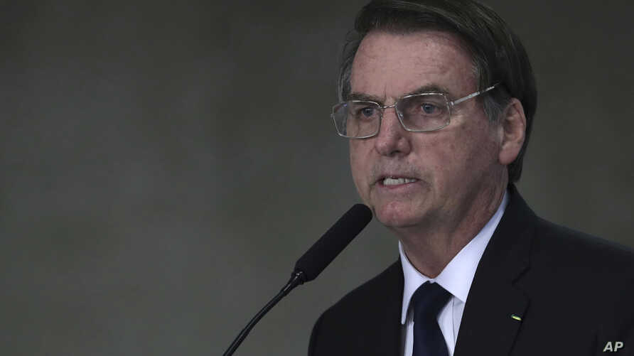 Brazil's President Jair Bolsonaro speaks at Planalto presidential palace in Brasilia, March 25, 2019.