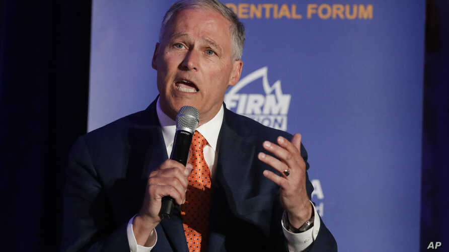 FILE - Democratic Presidential candidate Washington Gov. Jay Inslee speaks during a campaign event at the Unity Freedom Presidential Forum, May 31, 2019, in Pasadena, Calif.