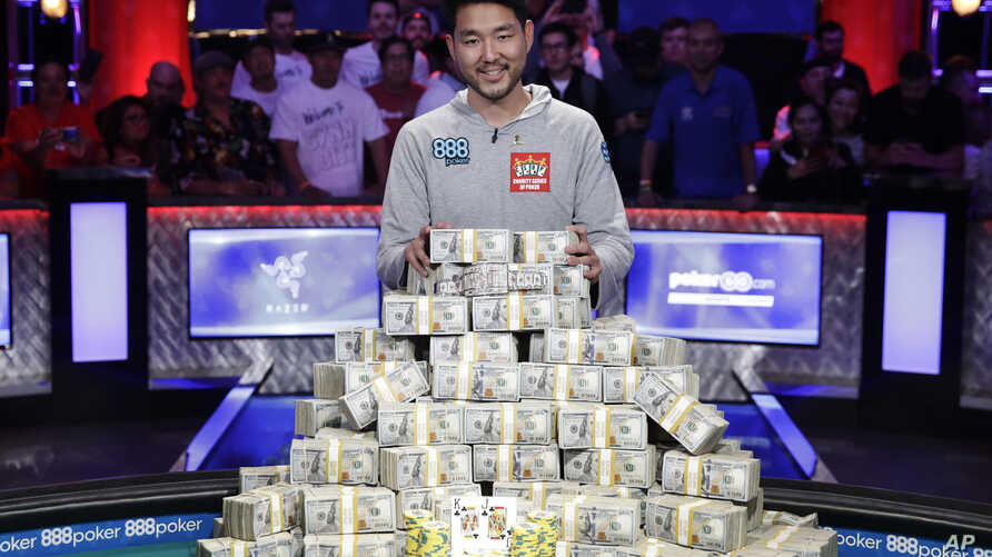 FILE - In this July 15, 2018, file photo, John Cynn poses after winning the World Series of Poker main event in Las Vegas. The 50th edition of World Series of Poker is kicking off this week in Las Vegas.