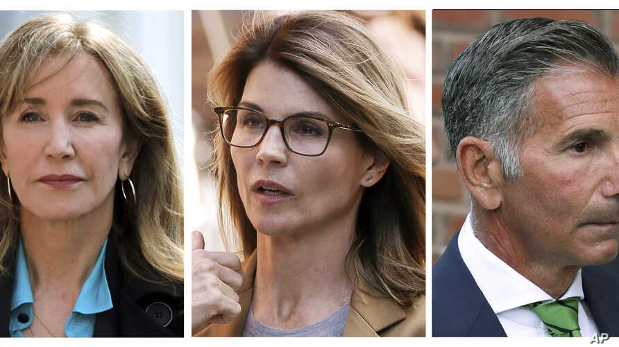Combination photo shows actress Felicity Huffman (L), actress Lori Loughlin and her husband, clothing designer Mossimo Giannulli, outside federal court in Boston on April 3, 2019, where they faced charges in a nationwide college admissions bribery sc...