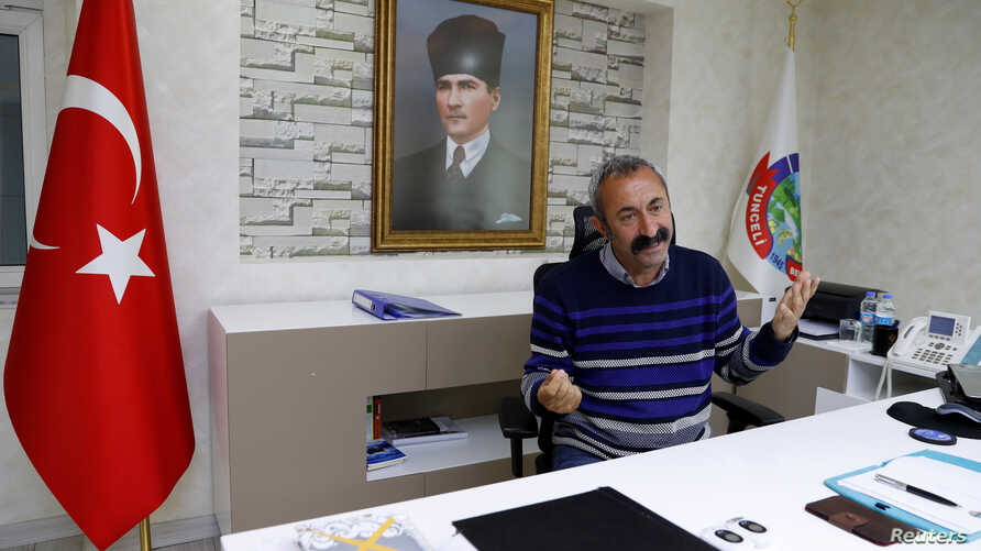 Tunceli Mayor Mehmet Macoglu from the Communist Party of Turkey (TKP) speaks during an interview at his office in Tunceli, Turkey April 15, 2019.