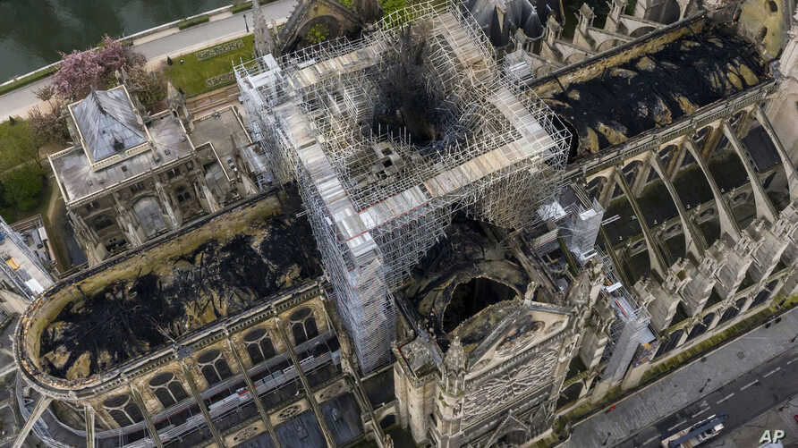 An image made available by Gigarama.ru on April 17, 2019 shows an aerial shot of the fire damage to Notre Dame cathedral in Paris, France.