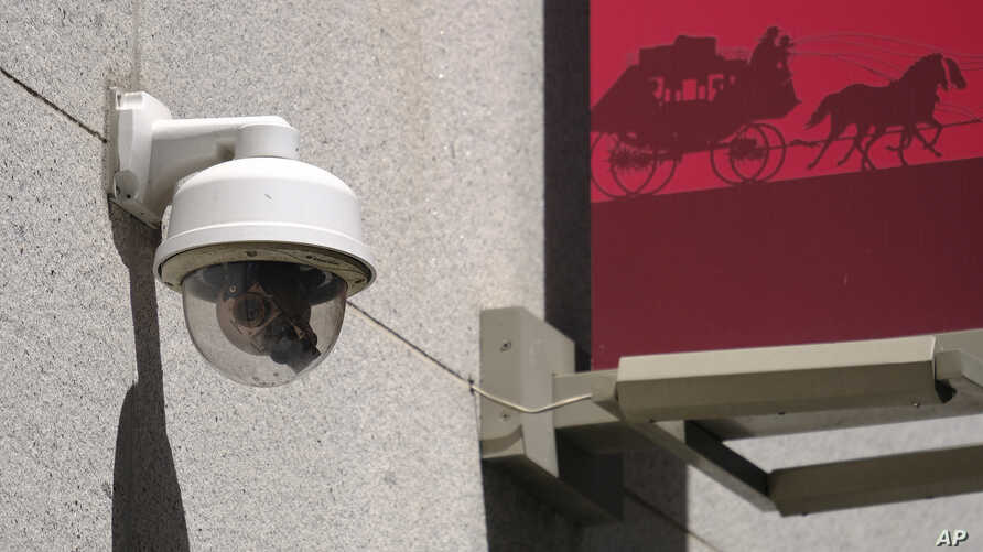 This photo taken Tuesday, May 7, 2019, shows a security camera in the Financial District of San Francisco.