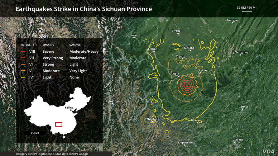 Earthquakes Strike in China's Sichuan Province