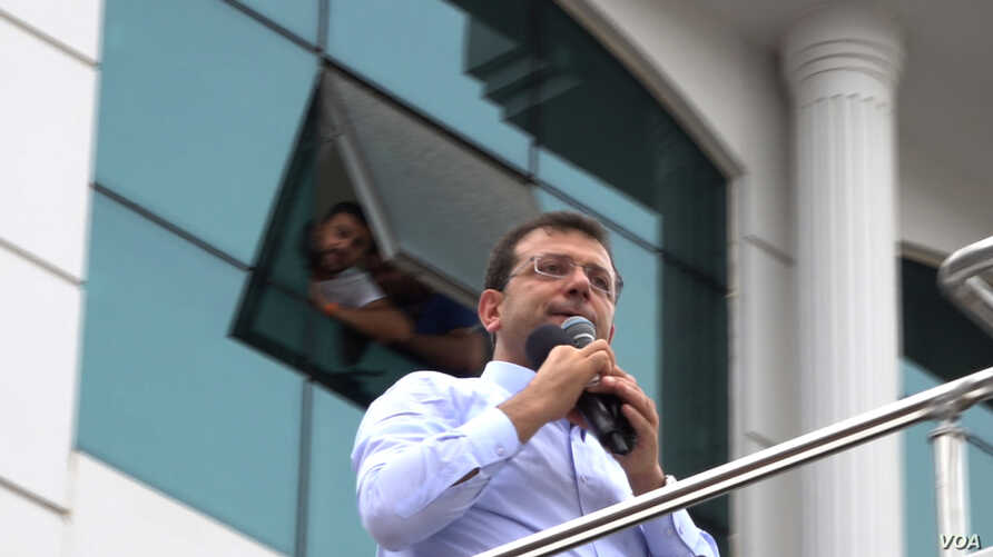 CHP candidate Ekrem Imamoglu is back on the campaign trail after his victory was annulled by electoral authorities. VOA/D.Jones