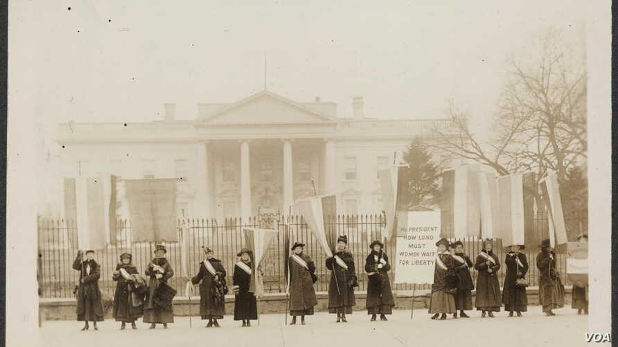 Suffragists on the picket line in front of the White House in 1917, three years before the passage of the 19th Amendment.