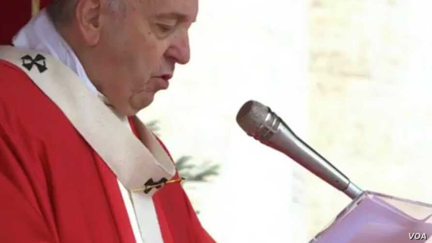 Pope Francis during Palm Sunday Mass in Saint Peter's Square, at the Vatican, Apr. 14, 2019.