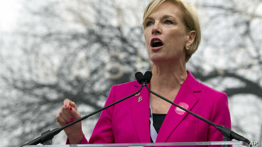 President Planned Parenthood Federation of America Cecile Richards speak to the crowd during the women's march rally in Washington, Jan. 21, 2017.