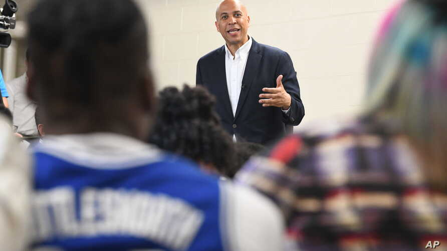 Democratic presidential candidate Sen. Cory Booker speaks during a campaign stop on at Allen University in Columbia, South Carolina, April 26, 2019.
