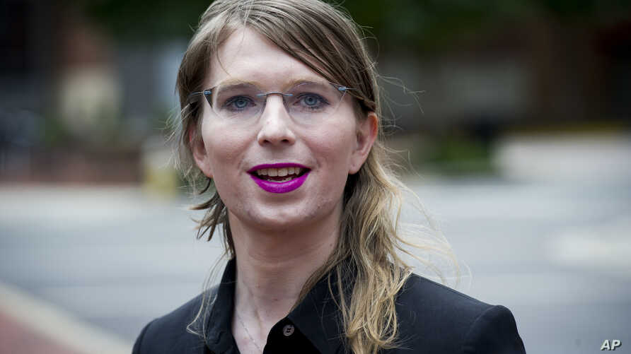 FILE - Former Army intelligence analyst Chelsea Manning speaks with reporters, outside federal court in Alexandria, Va., May 16, 2019.