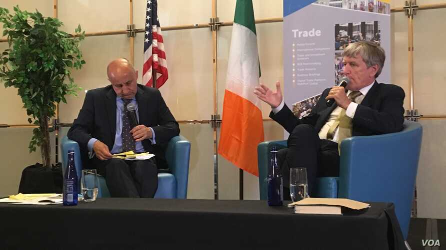 Ireland's ambassador to the United States Daniel Mulhall, right, speaks at an event in Washington in May 2019. (N. Liu / VOA)