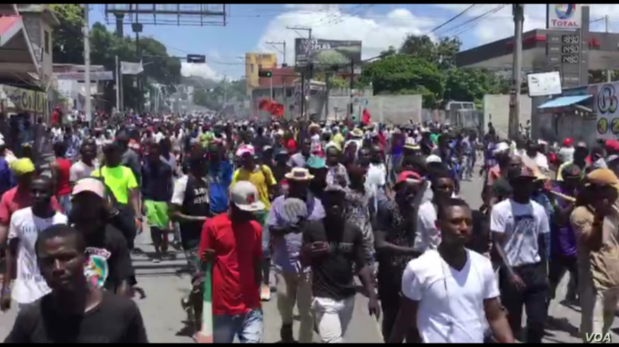 Thousands protest against corruption in Port-au-Prince, Haiti, June 16, 2019.