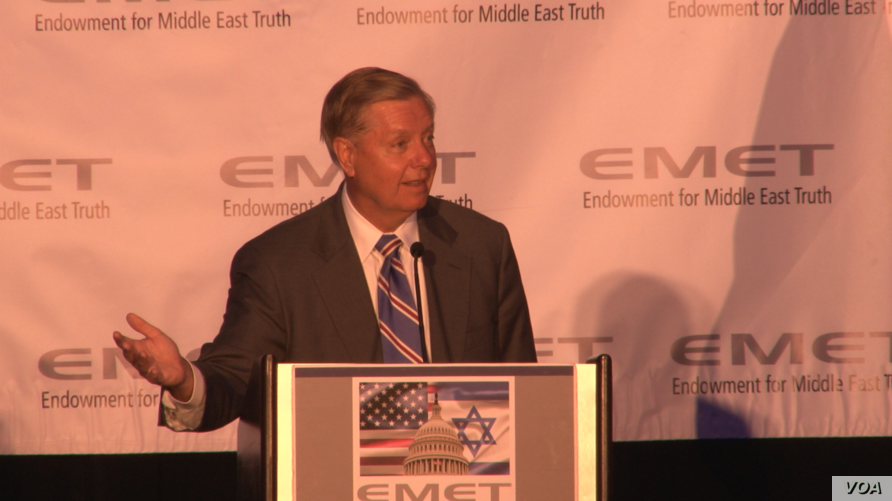 U.S. Republican Senator Lindsey Graham addresses an annual dinner of the pro-Israel research group Endowment for Middle East Tru